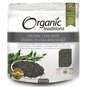 Organic Traditions Certified Organic Dark Chia Seeds - Salvia Hispanica L. 454gr