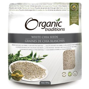Organic Traditions Certified Organic White Chia Seeds - Salvia Hispanica L. 454gr