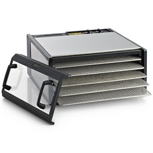 Excalibur Stainless Steel Dehydrator with Stainless Steel Trays and Clear Door D500CDSHD