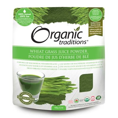 Organic Traditions Certified Organic Wheatgrass Juice Powder 150gr