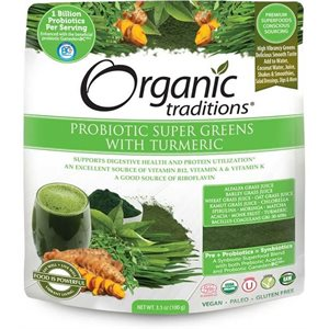 Organic Traditions Probiotic Super Greens with Tumeric 100gr