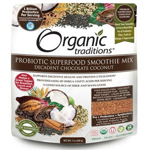Organic Traditions Probiotic Superfood Smoothie Mix Decadent Chocolate Coconut 200gr