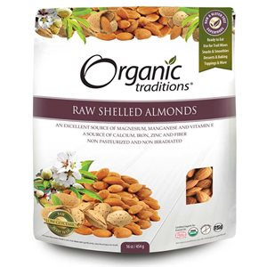 Organic Traditions Certified Organic Raw Shelled Almonds 454gr