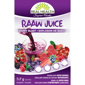 Real Health Superfoods RAAW Juice Explosion de baies 7 x 7g